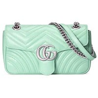 Onewel GUCCI Macaron marmont wave pattern double G buckle love Heart back Green