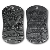 U.S. Navy Dog Tag Inspirational Scripture Necklace
