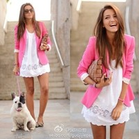New Fashion Candy Color Basic Slim Foldable Suit Jacket Blazer XS S M L 6 Colors