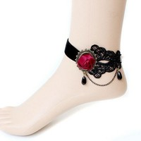 Autofor Woolen Handmade Craft Retro Vintage Noble Elegant Vampire Accessories Wedding Decorations Holiday Classic Royal Court Palace Romantic Gothic Style Punk Rock Women Lady Girls Lace Anklets Chain Foot Ankle Bracelet With Flower Design Halloween Decora