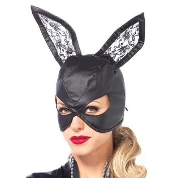 Women's Black Leather Bunny Mask
