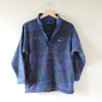 Vintage Patagonia Tribal Aztec Print Fleece Pullover Jacket // Size Kids 12 // Adult XS
