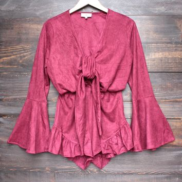 Lioness - suede with it ruffle hem romper - burgundy