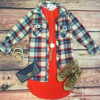 Penny Plaid Flannel Top: Cream/Red