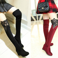 Womens Charming Thigh-High Lace Trendy Wedge Boots