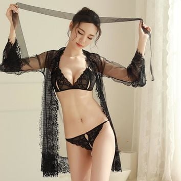 Sexy Lace See-Though Robe and Bra Set