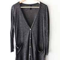 Long Knit Cardigan - Charcoal Black