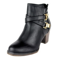 Womens Ankle Boots Strappy Buckle Accent Casual High Heel Shoes Black SZ