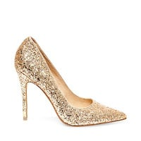 ATLANTYC: STEVE MADDEN - ALLOVER GOLD GLITTER POINTED-TOE PUMPS