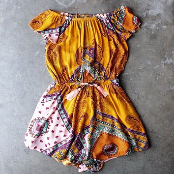 Final Sale - Reverse x Lovecat - Strapless Off The Shoulder Boho Print Romper in Yellow