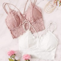 Floral Lace Criss Cross Bra Set 2pack
