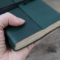 Leather journal, leather notebook, travel journal, travel notebook, pocket journal, pocket notebook, blank book, hand bound green
