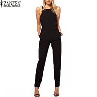 Zanzea Brand 2016 Summer Elegant Womens Rompers Jumpsuit Casual Solid Bodysuit Sleeveless Crew Neck Long Playsuits Plus Size