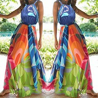 New Women's Halter Sleeveless 3D Printed Dress Long Dress