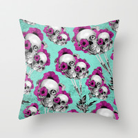Evolution of poppies, skull pattern.  Throw Pillow by Kristy Patterson Design