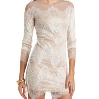 White Combo Mesh & Lace Long Sleeve Bodycon Dress by Charlotte Russe