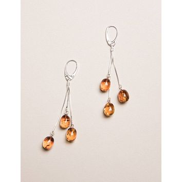 Amber Silver Drop Earrings