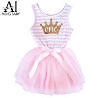Newborn 0-24M Girl Stripe One Two Print Kids Dresses For 1 Year Baby Girl Birthday Gift  Infant Party Dress Toddler Girl Clothes