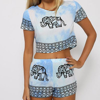 Fashion Sky Blue Tie Dye Gradient Elephant T Shirt suit