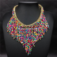 Bohemian Necklaces Women Handmade Handwoven Collier Long Tassel Beads Choker Statement Necklaces AU12