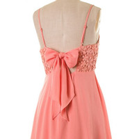 Daisy Bow Back Dress - Salmon