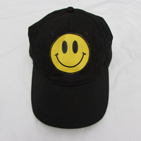 Satin Yellow Smiley Face Patch on Black Baseball Hat for Everyday Wear