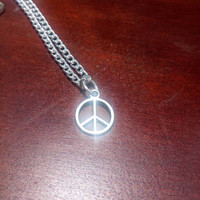 Sterling silver peace sign necklace - peace charm necklace - peace sign necklace - silver peace sign necklace - minimalist jewelry - hippy
