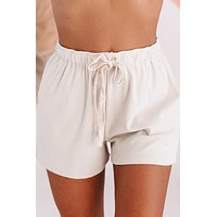 Love & Leisure Ribbed Knit Lounge Shorts (Cream)
