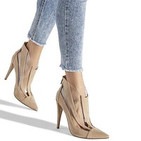 Transparent Pumps Women  High Heels Stiletto Clear Ladies Ankle Boots Sexy Pointed Toe Wedding Party Shoes