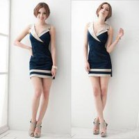 Blue Deep V Buttons Casual Prom Party Club Mini Dress free shipping