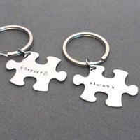 Always Forever Keychains, Puzzle piece Couples Keychains , Anniversary Gift