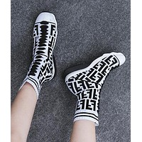 FENDI Autumn Winter New Woman Personality Knit Socks Boots Breathable Sneakers Running Shoes White
