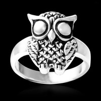 925 Oxidized Sterling Silver Detail Owl Ring - Nickel Free Size 6