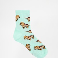 ASOS Ankle Socks With Dog In Bun Design