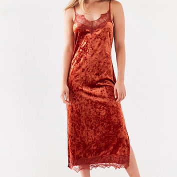 BOG Collective Crushed Velvet Lace Midi Slip Dress - Urban Outfitters