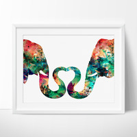 Abstract Painting, Elephant Love, Watercolor Print, Abstract Watercolor Painting, Large Abstract Art, Wall Art, Art Print Poster (165)
