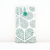 Fabric Iphone 6 case , Hand printed green raindrop print fabric , cell phone cover sleeve for Samsung Galaxy s4 s5 IPhone 6 HTC m8 Uk seller