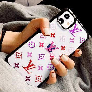 Onewel LV Louis Vuitton Mobile phone case high-end luxury printed iphone 11 pro max transparent xs presbyopia jelly phone case Colorful