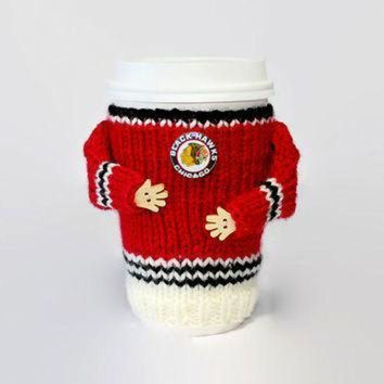 DCCKU3N Chicago Blackhawks coffee cozy. NHL jersey cup sleeve. Hockey jersey coffee warmer. Ho