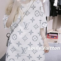 LV Louis Vuitton full printed reflective logo crew neck half-sleeved T-shirt