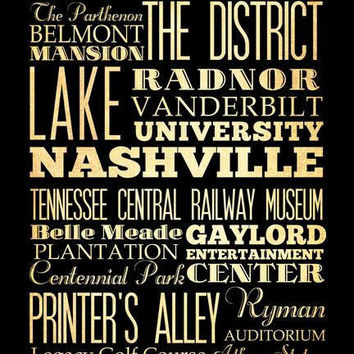 Nashville, Tennessee, Typography Art Poster / Bus / Transit / Subway Roll Art 18X24 - Nashville's Attractions Wall Art Decoration -  LHA-17