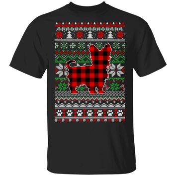 Yorkie Red Plaid Ugly Christmas Sweater Gifts