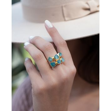 Fran Ring * Rough Aqua Chalcedony * Gold plated * BJR124