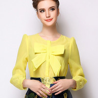 Yellow Bow Front Long Sleeve Organza Blouse