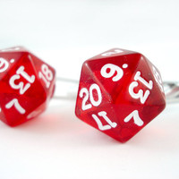 Translucent Bright Red D20 Dice Cuff Links Made to by angelyques