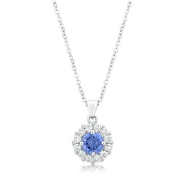 Belle Lt Amethyst Round Halo Pendant Necklace | 4ct  | Cubic Zirconia