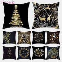 Gold Black Holiday Pillowcase Decor for Home Decor