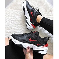 Nike Air Monarch 4 M2K Tekno Women's Shoes Running Retro old Sneakers Black (Four Litter Hook Red)