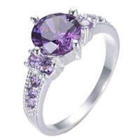 SNAZZY Amethyst Stone Filled Ring -- FREE Shipping