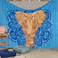 GLAM Exclusive Big Blue Elephant Boho Tribal Queen Tapestry